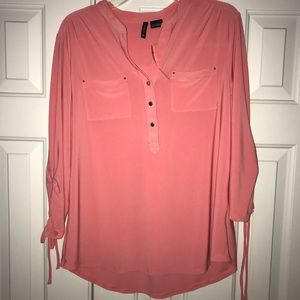 NWT New Directions Blouse with Tie Sleeve Size L.